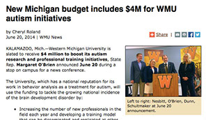 Photo of Western Michigan Group receiving funding